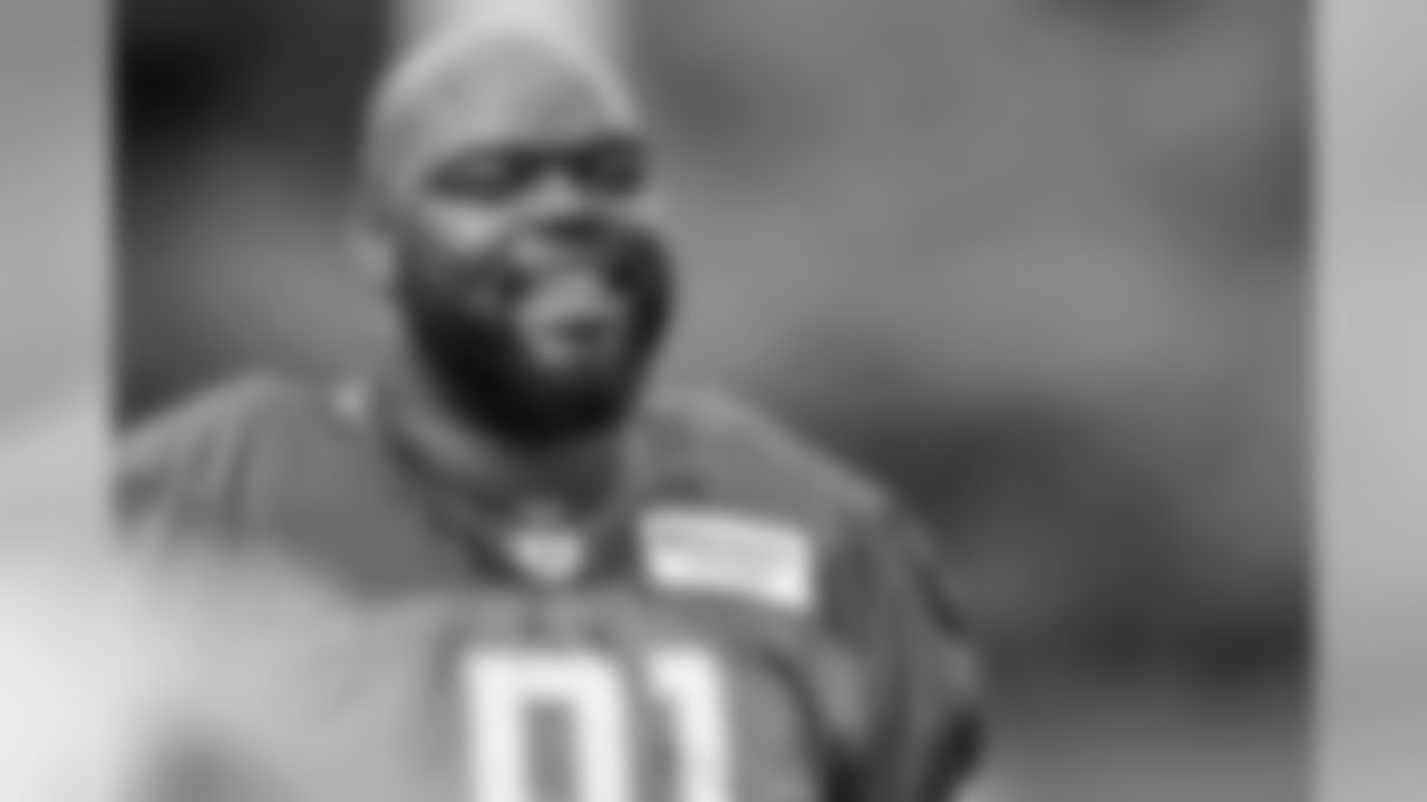 Detroit Lions defensive tackle A'Shawn Robinson (91) smiles during practice at the Detroit Lions training facility on Tuesday, Aug. 27, 2019 in Allen Park, Mich. (Detroit Lions via AP)