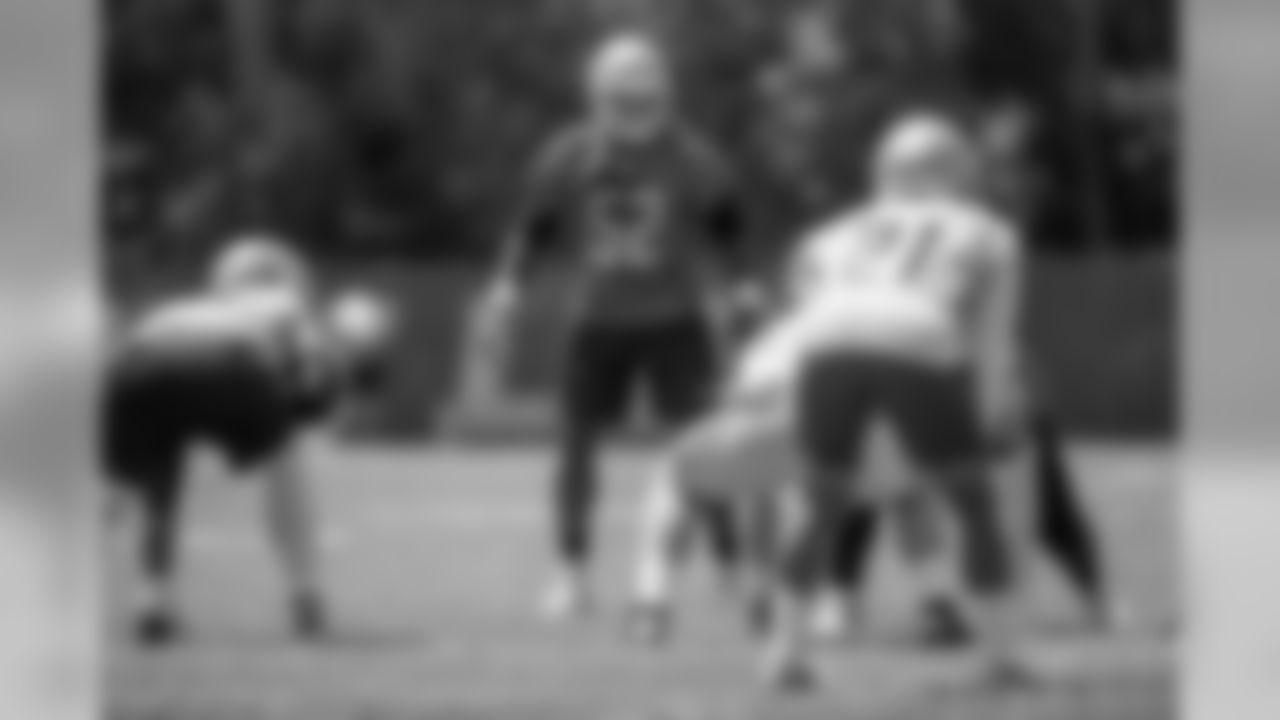 Detroit Lions linebacker Christian Jones (52) during an minicamp practice at the Detroit Lions training facility on Wednesday, June 6, 2018 in Allen Park, Mich. (Detroit Lions via AP)