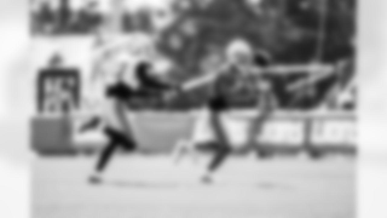 Detroit Lions cornerback Jeff Okudah (23) Detroit Lions wide receiver Amon-Ra St. Brown (14) during Lions Training Camp at the Training Facility in Allen Park, MI on August 6th, 2021. (Jeff Nguyen/Detroit Lions)