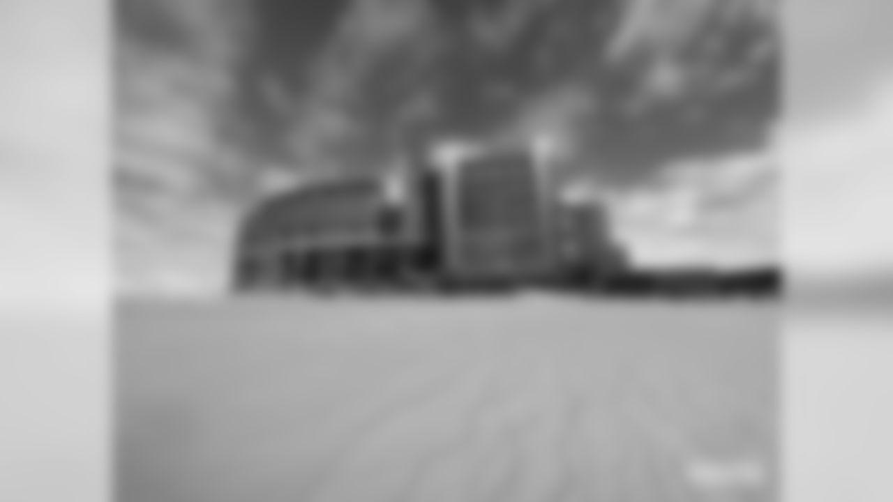 Lambeau Field in the snow.