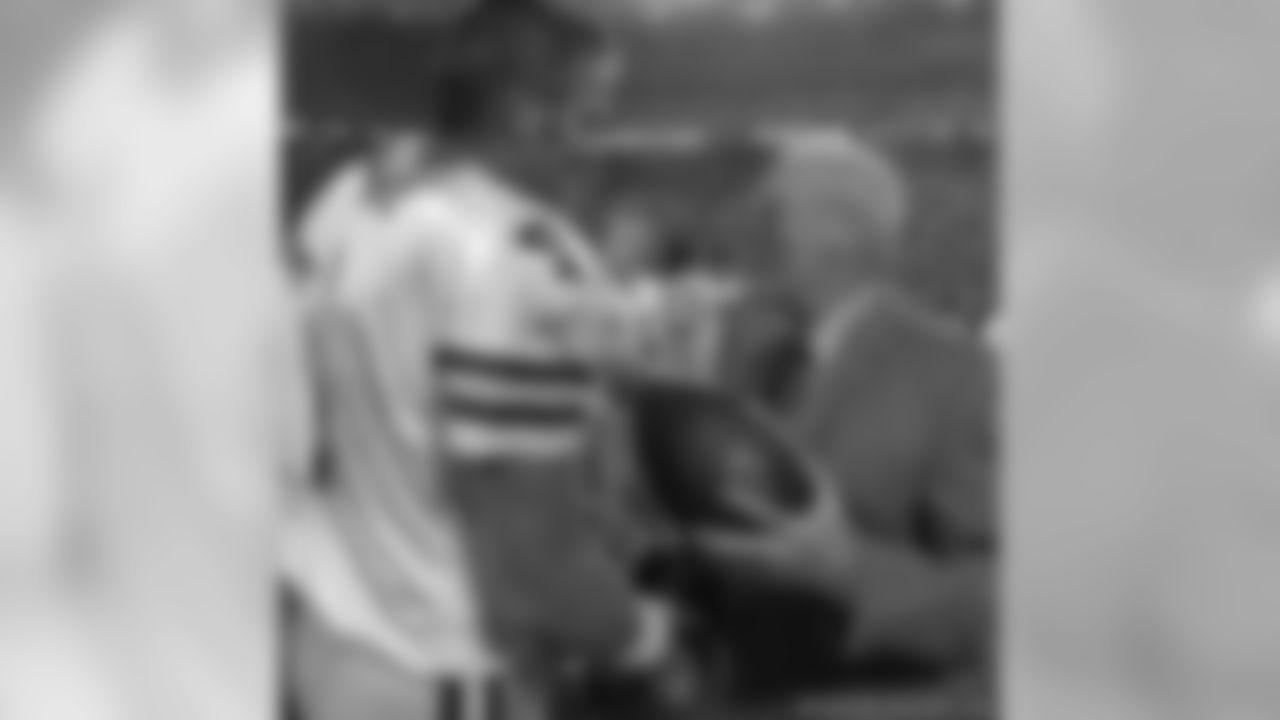 Brett Favre and the Pro Football Hall of Fame's Joe Horrigan