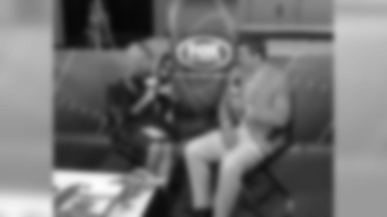 Aaron Rodgers with Laura Okmin of FoxSports.com