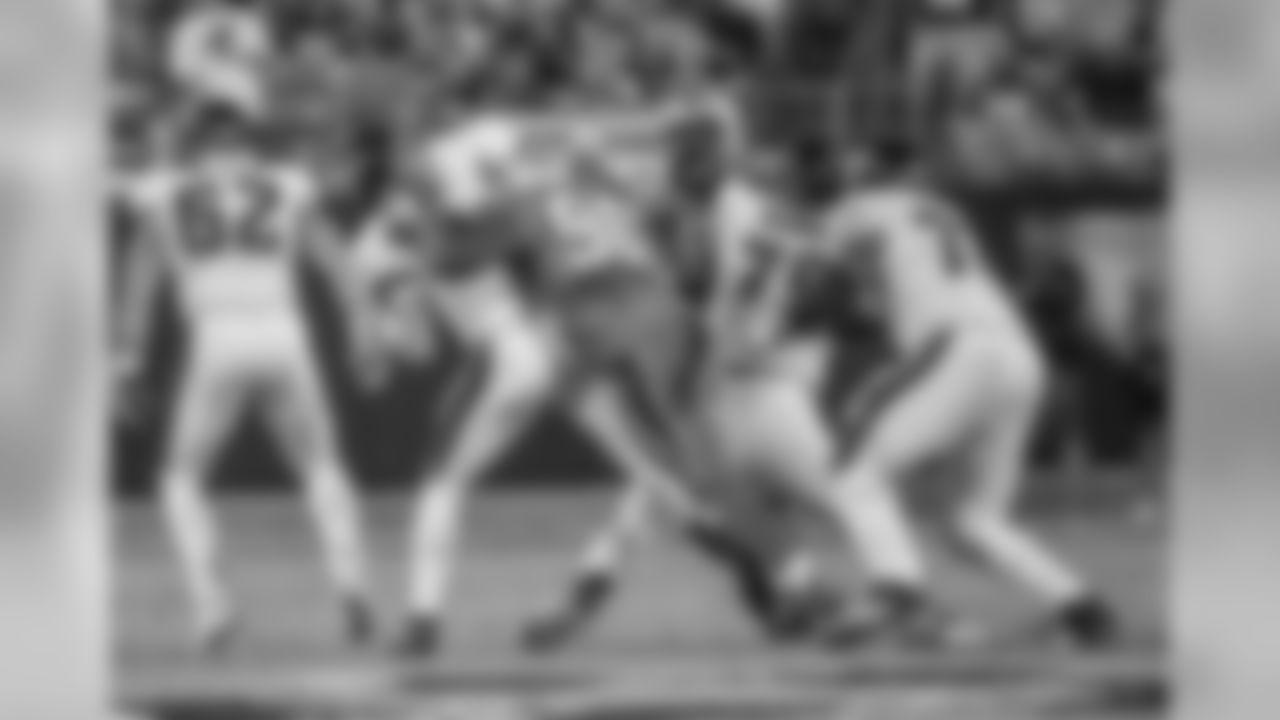 Carolina Panther Julius Peppers (90) sacks Philadelphia Eagle quarterback Carson Wentz at Bank of American Stadium on Thursday, October 12, 2017 in Charlotte, NC.