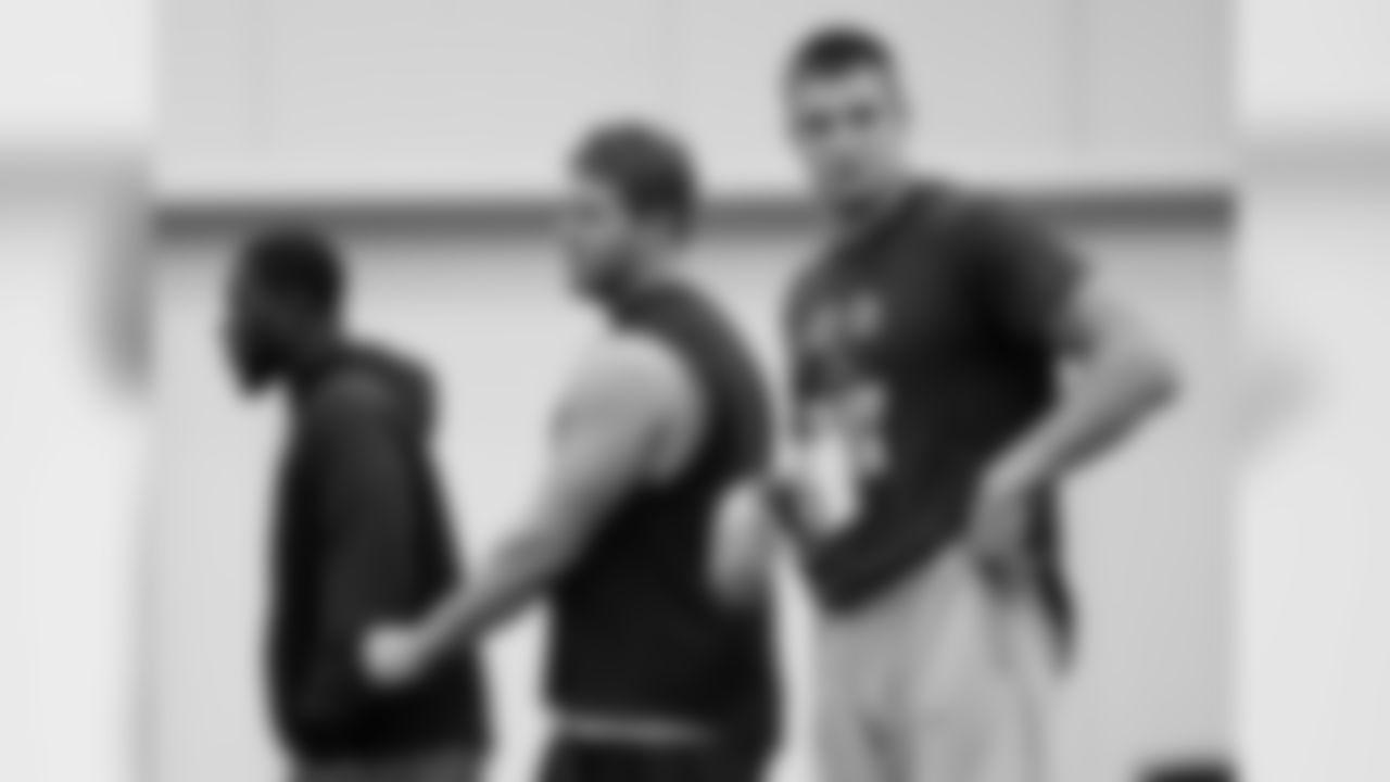 Rob Gronkowski warms up with Dane Fletcher