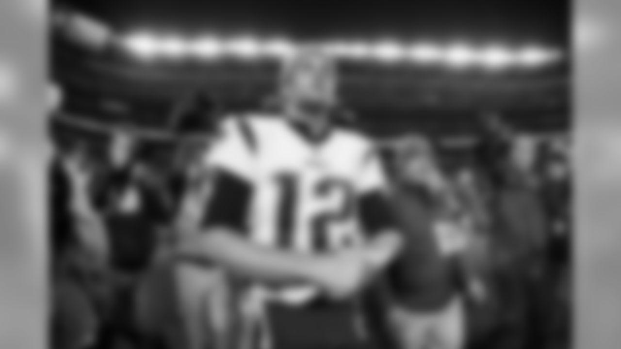 New England Patriots quarterback Tom Brady (12) is seen after an NFL football game against the Denver Broncos, Sunday, Nov. 12, 2017, in Denver. The Patriots defeated the Broncos, 41-16. (Ryan Kang via AP)
