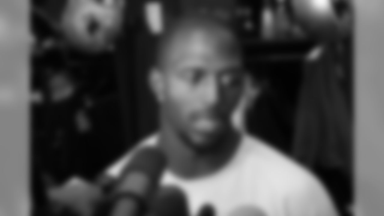 Devin McCourty answers questions from the media