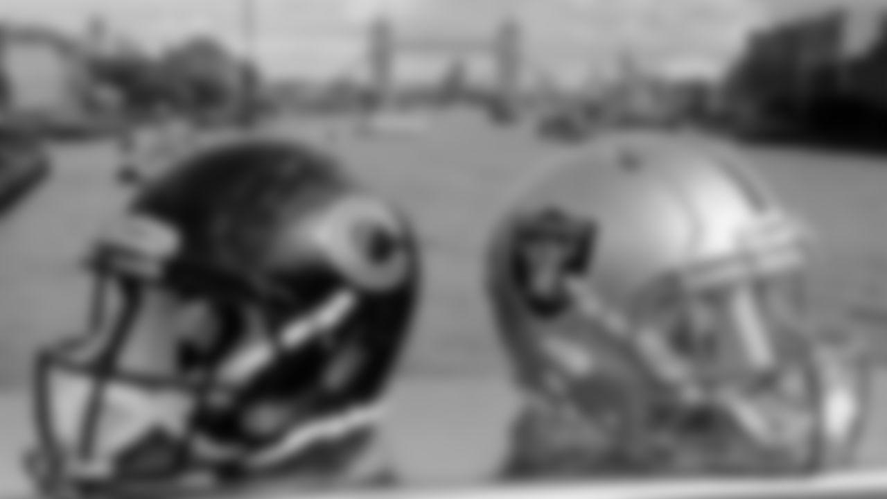 Raiders and Bears helmets before the Raiders game against the Chicago Bears at Tottenham Hotspur Stadium.