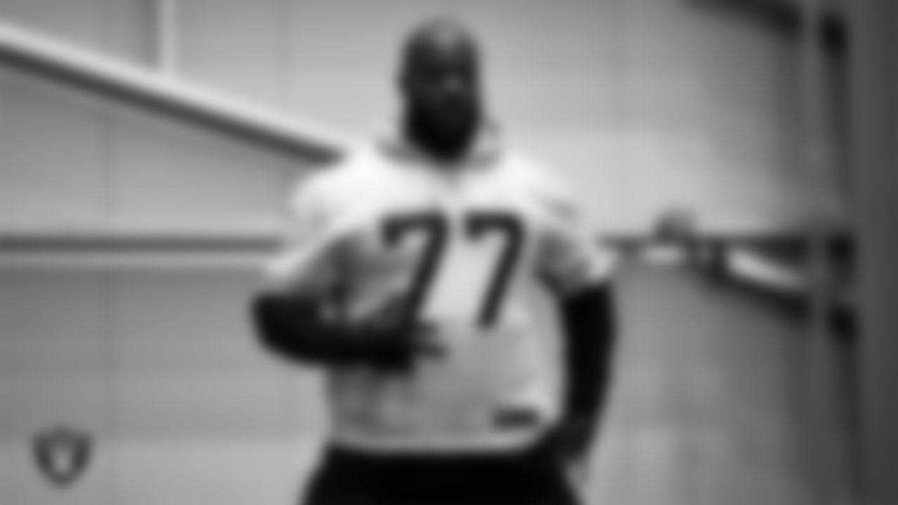 Las Vegas Raiders defensive tackle Quinton Jefferson (77) during practice at Intermountain Healthcare Performance Center.
