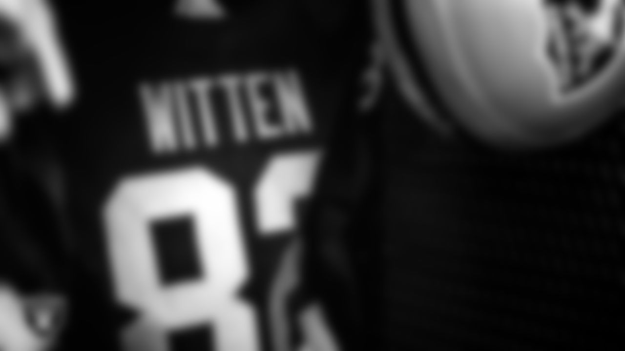 Las Vegas Raiders tight end Jason Witten's (82) jersey hangs in the locker room prior to the Raiders arrival for their regular season away game against the Carolina Panthers.