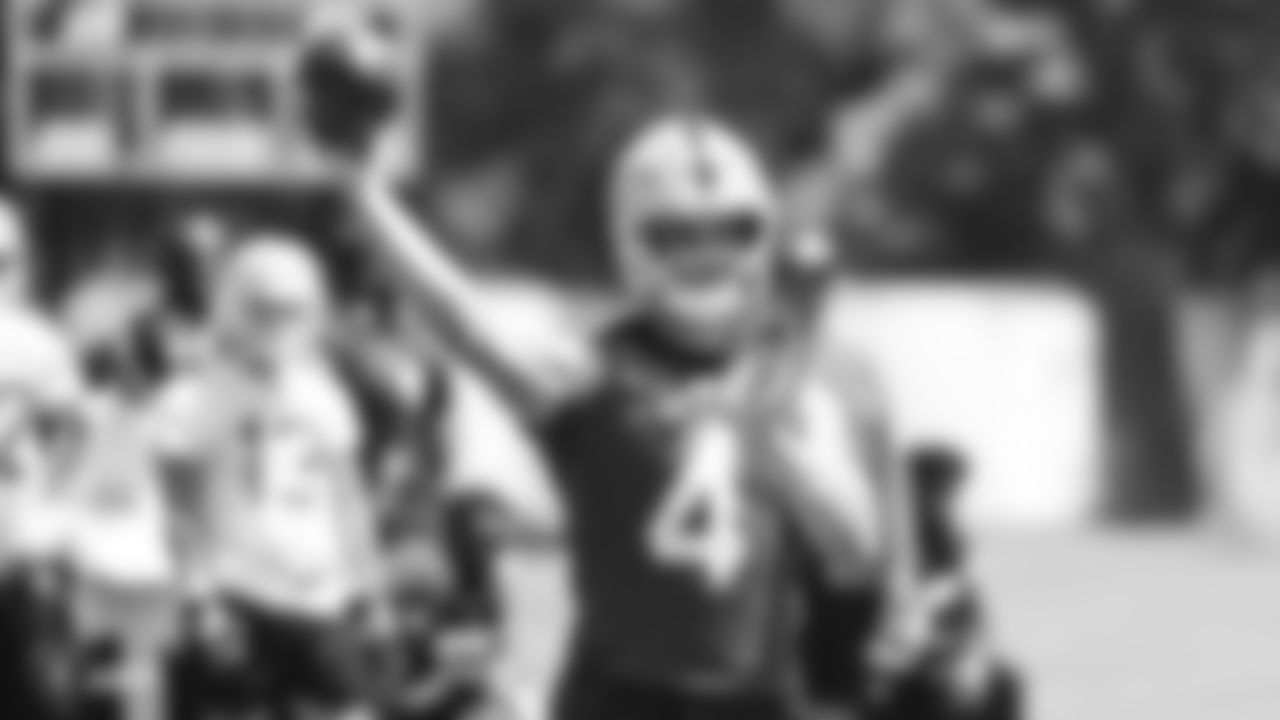 Oakland Raiders quarterback Derek Carr (4) at an Organized Team Activity (OTA) at the Oakland Raiders Practice Facility, Monday, June 4, 2018, in Alameda, California.