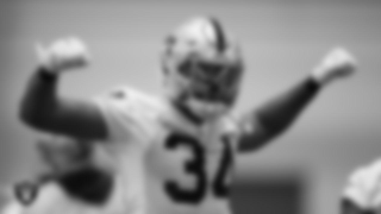 Las Vegas Raiders linebacker K.J. Wright (34) during practice at Intermountain Healthcare Performance Center.