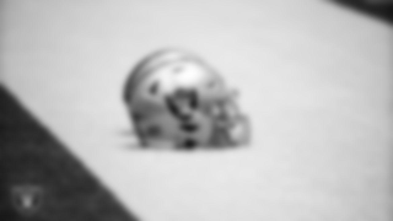 A Las Vegas Raiders helmet during practice.
