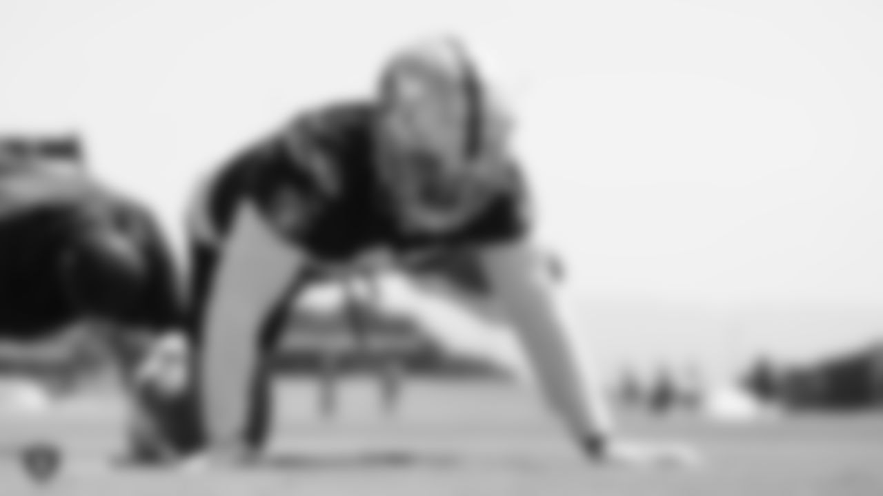Raiders defensive end Alex Barrett (93) at an Organized Team Activity (OTA) at the Raiders Practice Facility in Alameda, Calif.