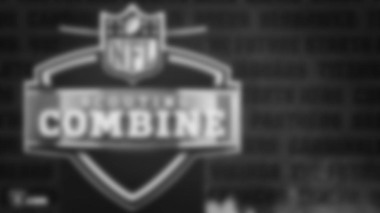 A 2020 NFL Scouting Combine logo at Lucas Oil Stadium.