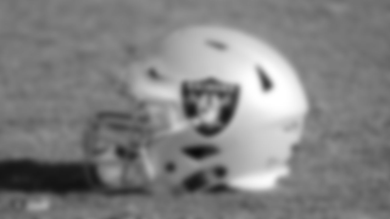 An Oakland Raiders helmet on the field for practice at the Oakland Raiders Practice Facility, Friday, December 28, 2018, in Alameda, California.