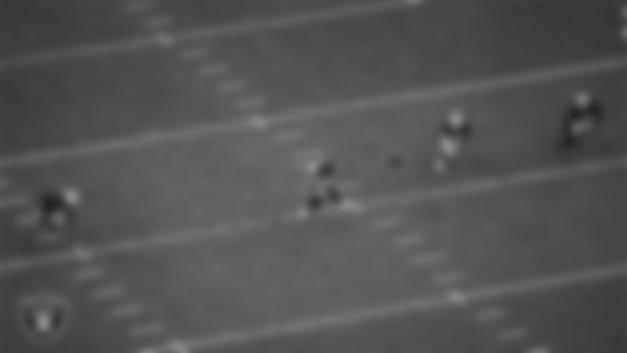 Las Vegas Raiders kicker Daniel Carlson (2) kicks off during the regular season home game against the Miami Dolphins.