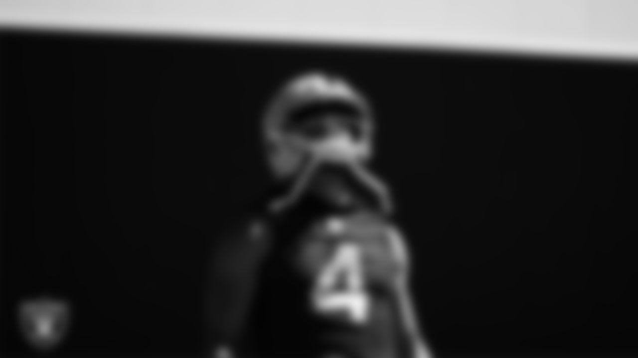 Las Vegas Raiders quarterback Derek Carr (4) at an Organized Team Activity (OTA).