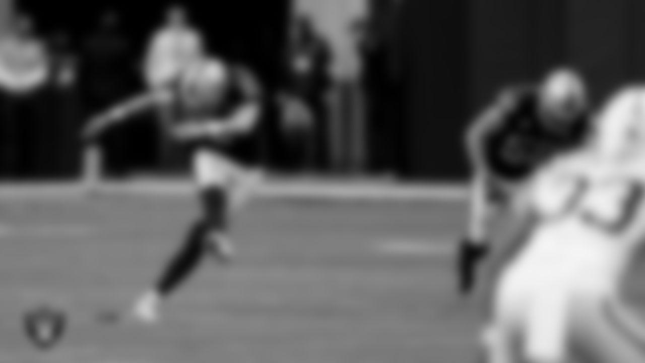 Las Vegas Raiders kicker Daniel Carlson (2) during the regular season game against the Indianapolis Colts at Allegiant Stadium.