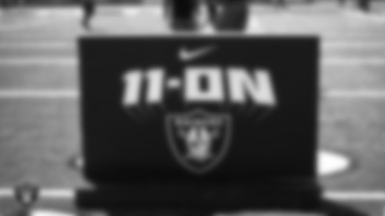 Las Vegas Raiders signage at the Nike 11-On event.