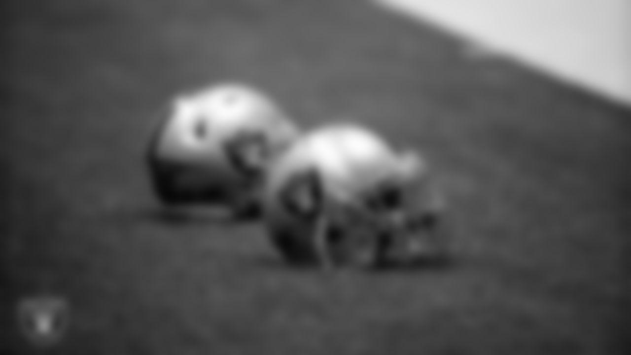 Las Vegas Raiders helmets during practice.