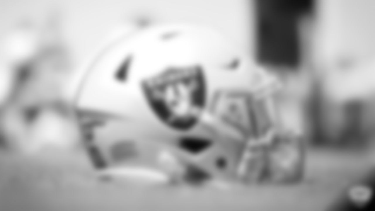 A Raiders helmet on the field for practice at 2019 Training Camp.