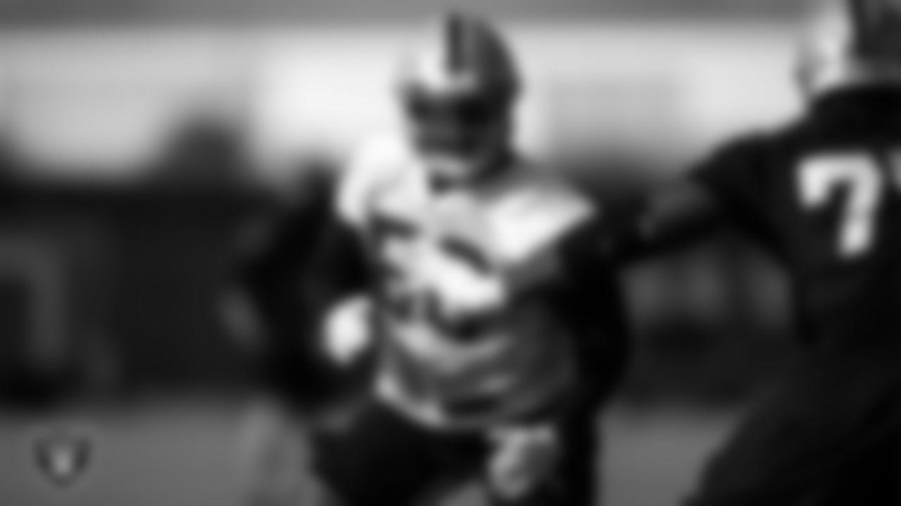 Las Vegas Raiders linebacker Nicholas Morrow (50) on the field for practice at 2020 Training Camp.