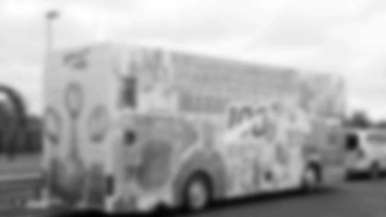 A Raiders double-decker bus at Royal Air Force Mildenhall.