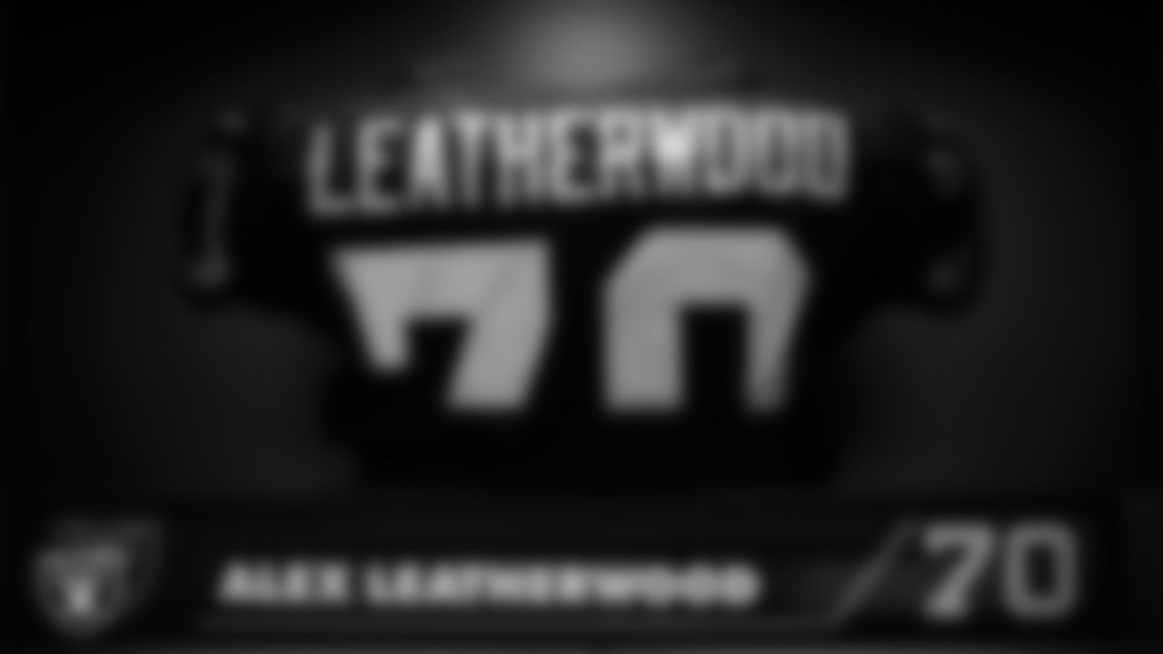Las Vegas Raiders tackle Alex Leatherwood's (70) pads in the locker room prior to the Raiders' arrival for their regular season home game against the Chicago Bears.