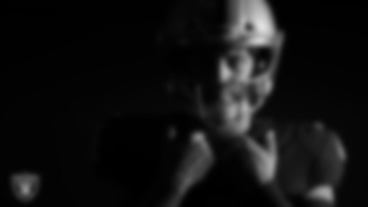 Las Vegas Raiders quarterback Derek Carr poses for a photo at the 2020 Las Vegas Raiders Media Day.