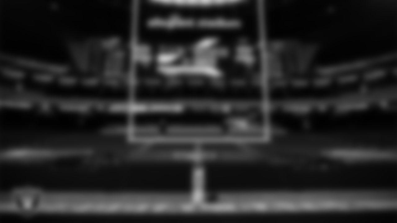 Crucial Catch signage around Allegiant Stadium before the Las Vegas Raiders regular season home game against the Tampa Bay Buccaneers.