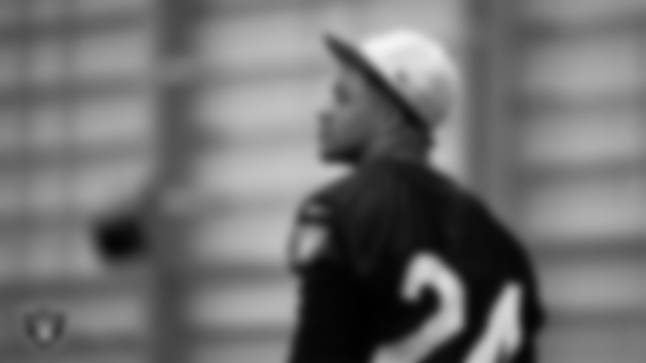 Las Vegas Raiders safety Johnathan Abram (24) on the field for a walkthrough.