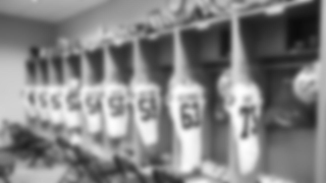 The Raiders locker room before their preseason game against the Arizona Cardinals at State Farm Stadium.