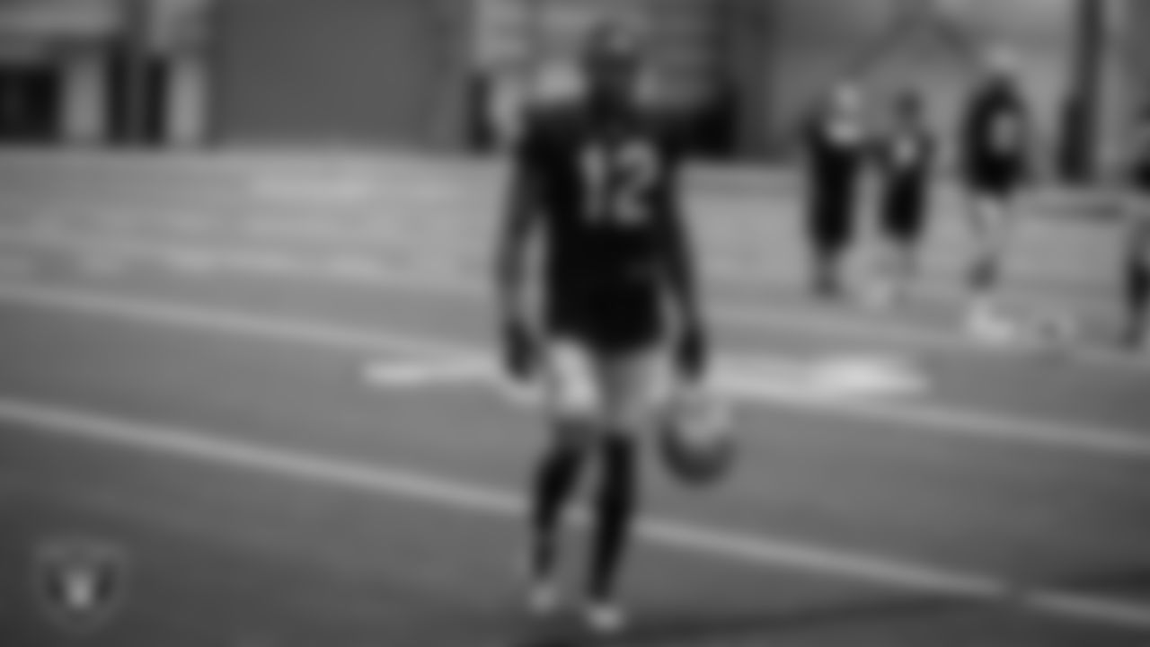 Las Vegas Raiders wide receiver Zay Jones (12) on the field for practice.