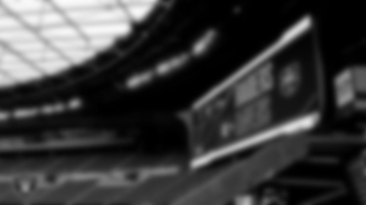Signage around Allegiant Stadium before the Las Vegas Raiders' regular season game against the Baltimore Ravens.