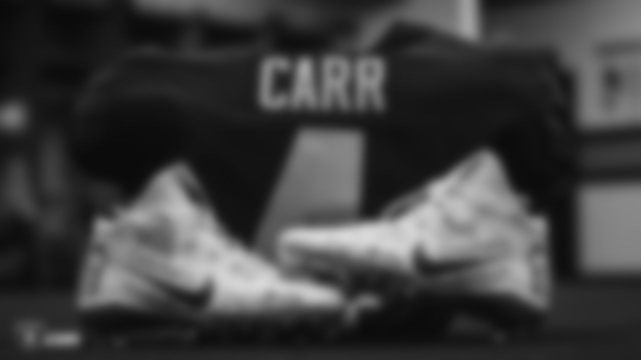 Raiders quarterback Derek Carr's (4) custom cleats for the NFL's My Cause My Cleats campaign in the locker room prior to the Raiders arrival for their regular season game against the Tennessee Titans. Derek Carr wears these cleats in support of Valley Children's Hospital.