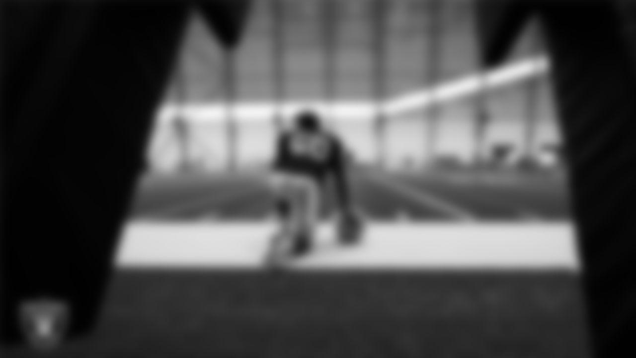 Las Vegas Raiders linebacker Nicholas Morrow (50) on the field for practice at 2021 Training Camp.