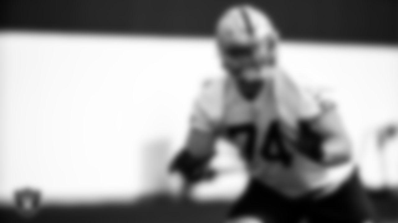 Las Vegas Raiders tackle Kolton Miller (74) during practice.