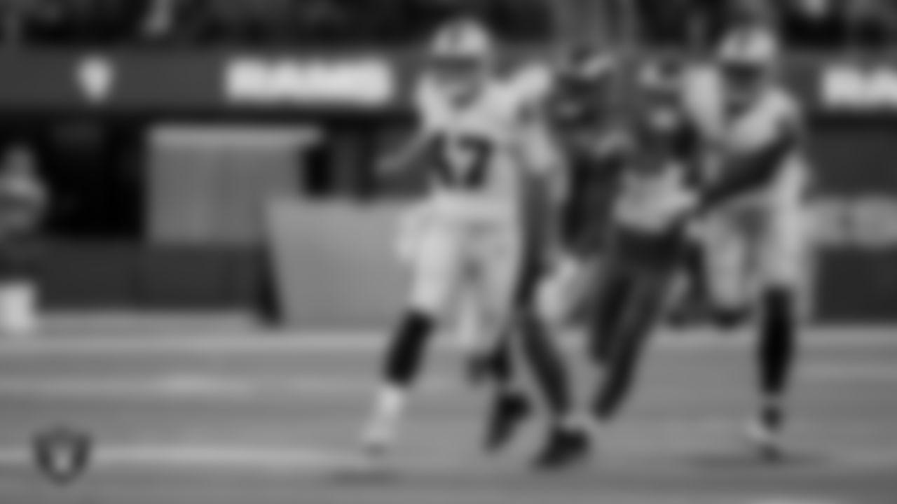 Las Vegas Raiders long snapper Trent Sieg (47) and defensive end Gerri Green (52) during the preseason game against the Los Angeles Rams at SoFi Stadium.