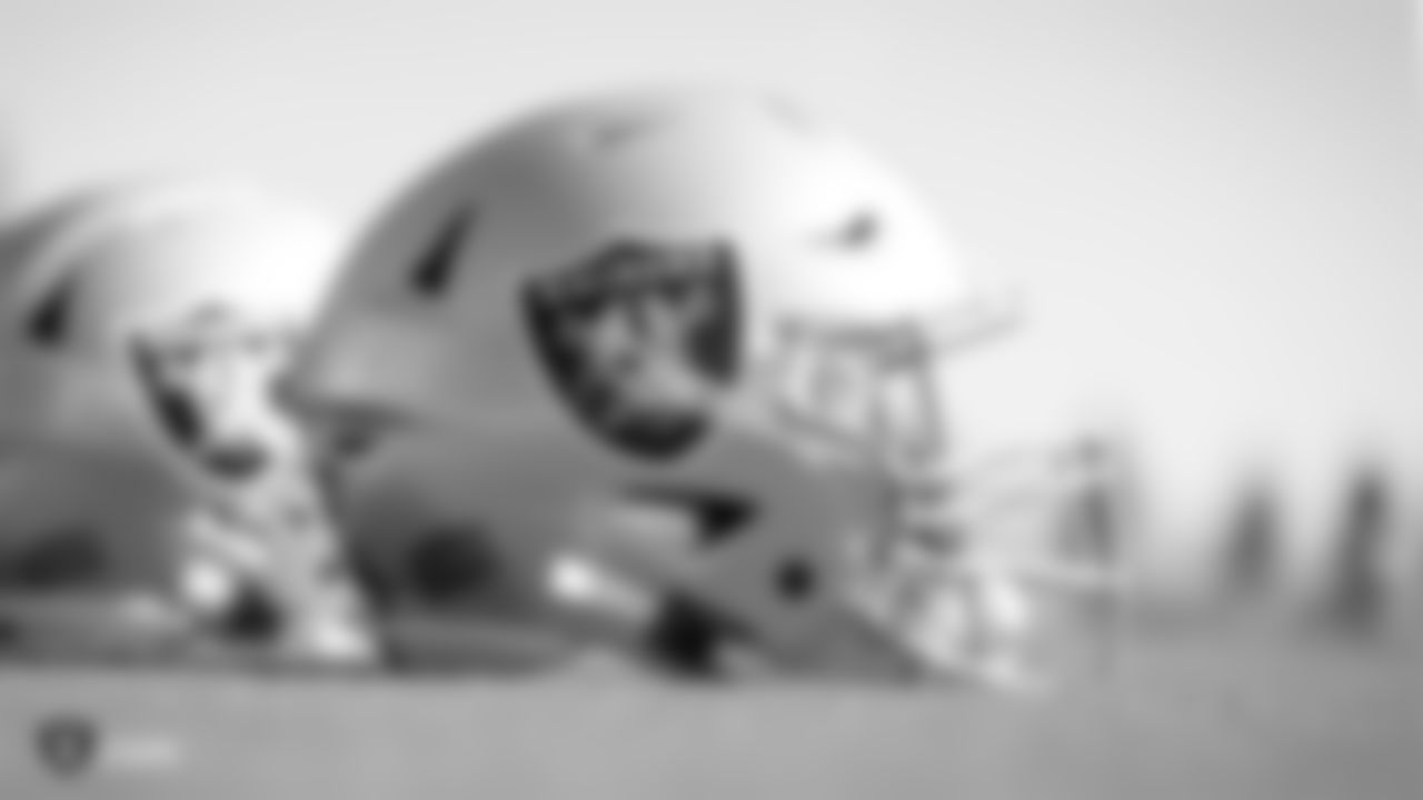 A Raiders helmet during practice at the Raiders Practice Facility.