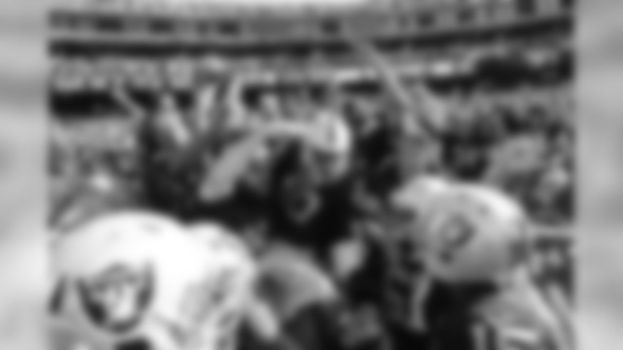 Wide receiver Seth Roberts jumps into the stands after scoring the game-winning touchdown against the Baltimore Ravens.