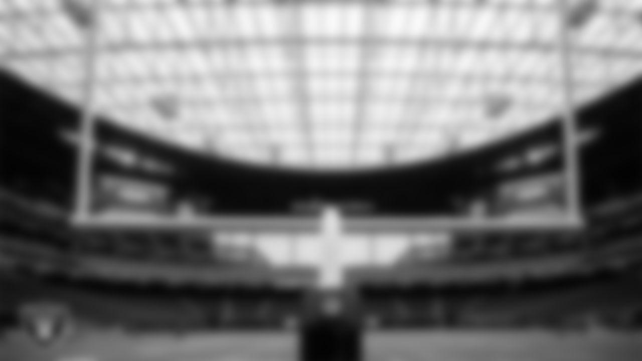 An interior view of Allegiant Stadium before practice at 2020 Training Camp.
