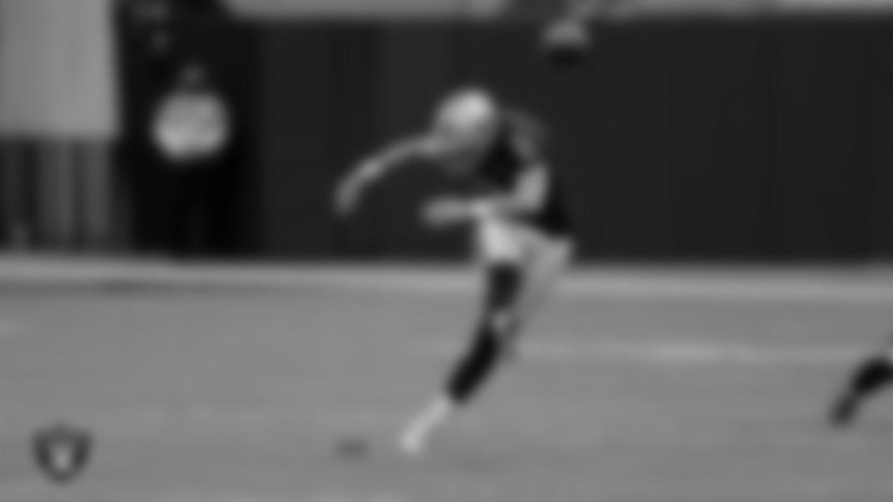 Las Vegas Raiders kicker Daniel Carlson (2) during the regular season game against the Tampa Bay Buccaneers at Allegiant Stadium.