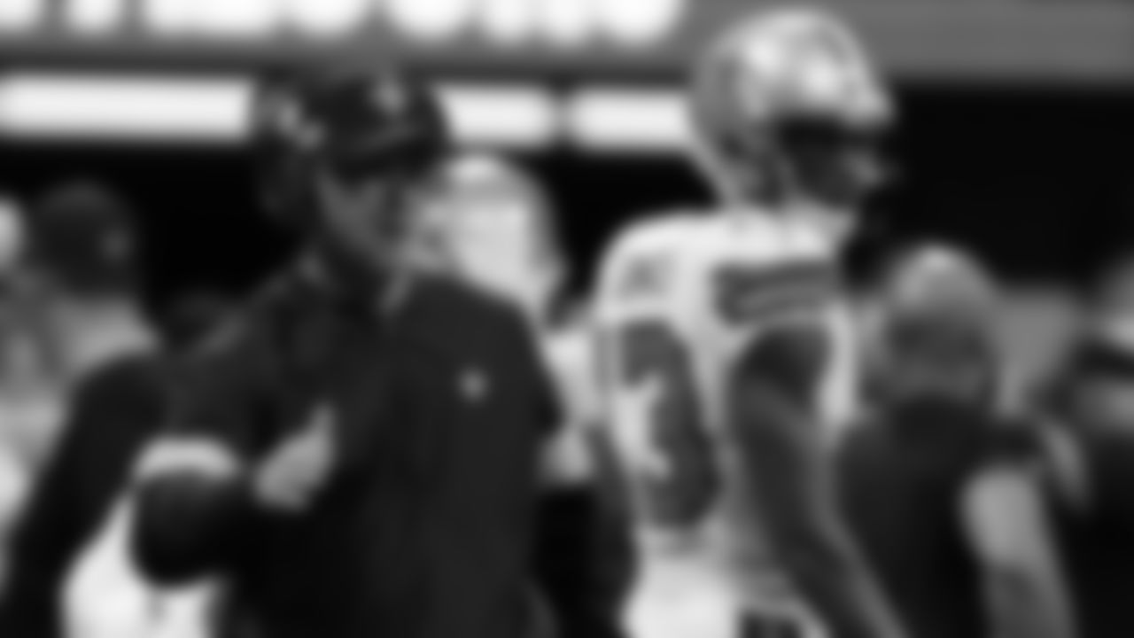 Take a look at offensive line coach Dan Roushar in action as we highlight the New Orleans Saints coaching staff on the sidelines.
