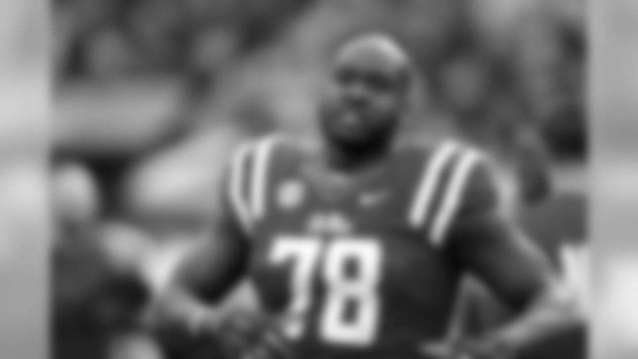 Mississippi offensive lineman Laremy Tunsil (78) loosens up prior to his team's NCAA college football game against Texas A&M in Oxford, Miss., Saturday, Oct. 24, 2015. Tunsil was making his first start for the season having served a seven game suspension. (AP Photo/Rogelio V. Solis)