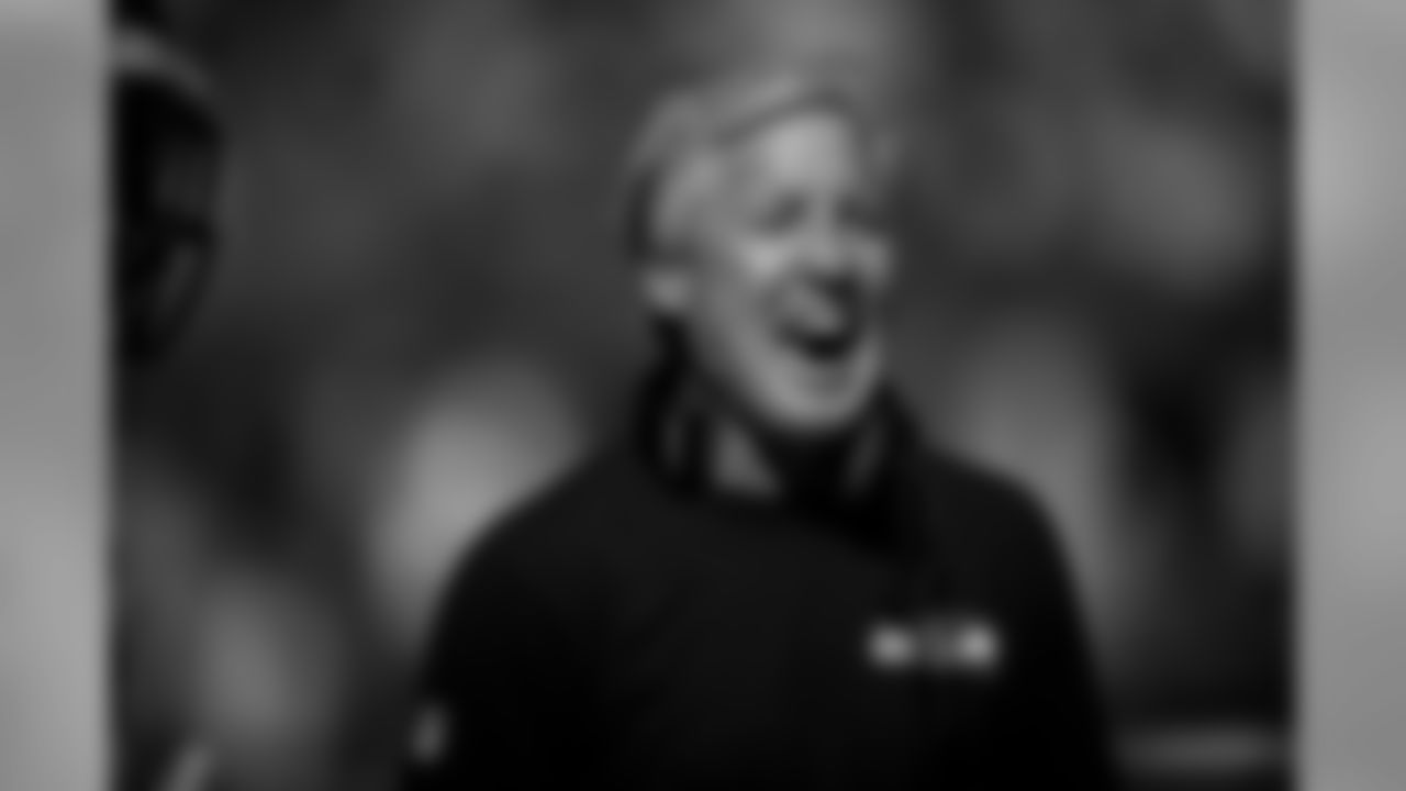 Head coach Pete Carroll is all smiles after a Lockett's touchdown.