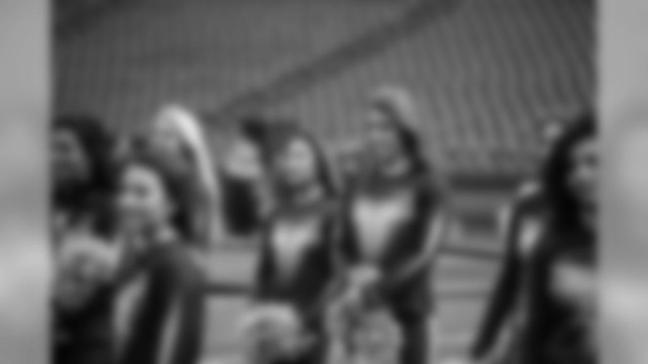 """Karley listening for direction at pregame rehearsal. She is our tallest Sea Gal on the squad at 5'9""""."""