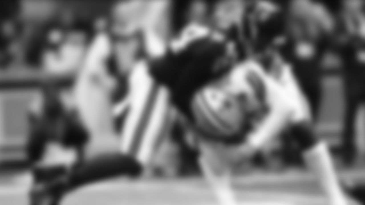 Dallas Cowboys quarterback Dak Prescott (4) is sacked by Atlanta Falcons defensive end Vic Beasley (44) during the first half of an NFL football game, Sunday, Nov. 18, 2018, in Atlanta. (AP Photo/John Amis)