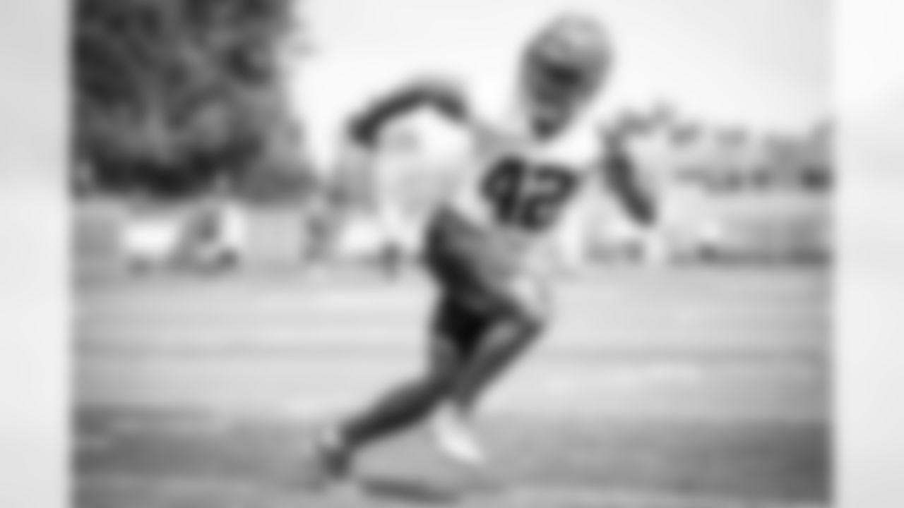 Linebacker Tony Fields II (42) during a quarterback/rookie practice on July 25, 2021.