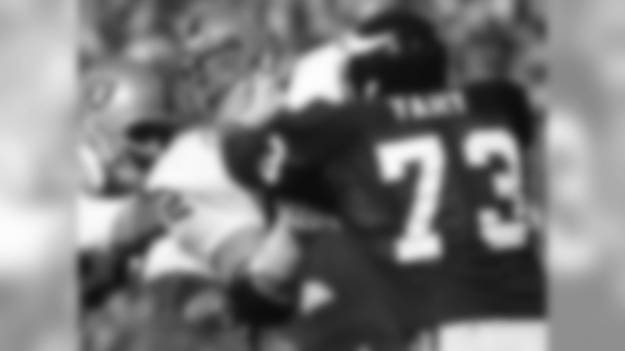 Oakland Raiders defensive end John Matuszak (72) is blocked by Minnesota Vikings offensive tackle Ron Yary (73) during Super Bowl XI Jan. 9, 1977, at the Rose Bowl in Pasadena, Calif.