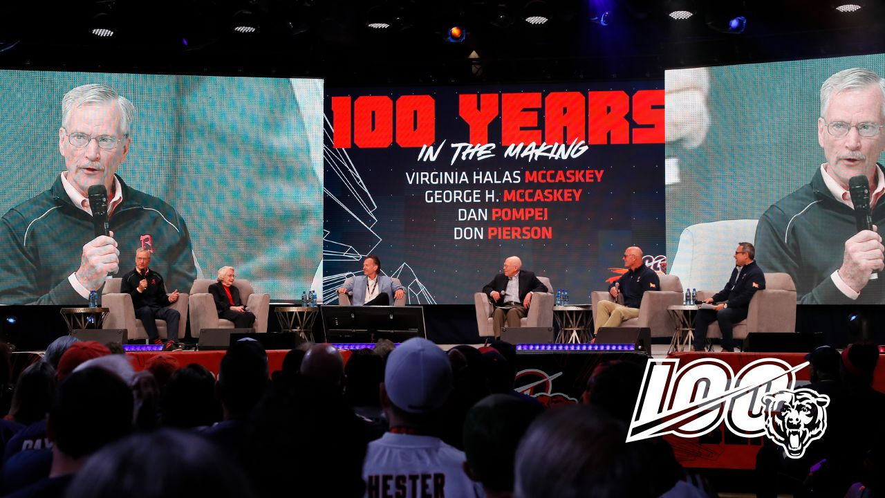 George McCaskey, Virginia Halas McCaskey, Dan Pompei, Don Pierson, Tom Thayer, and Jeff Joniak during the 100 Years in the Making Panel